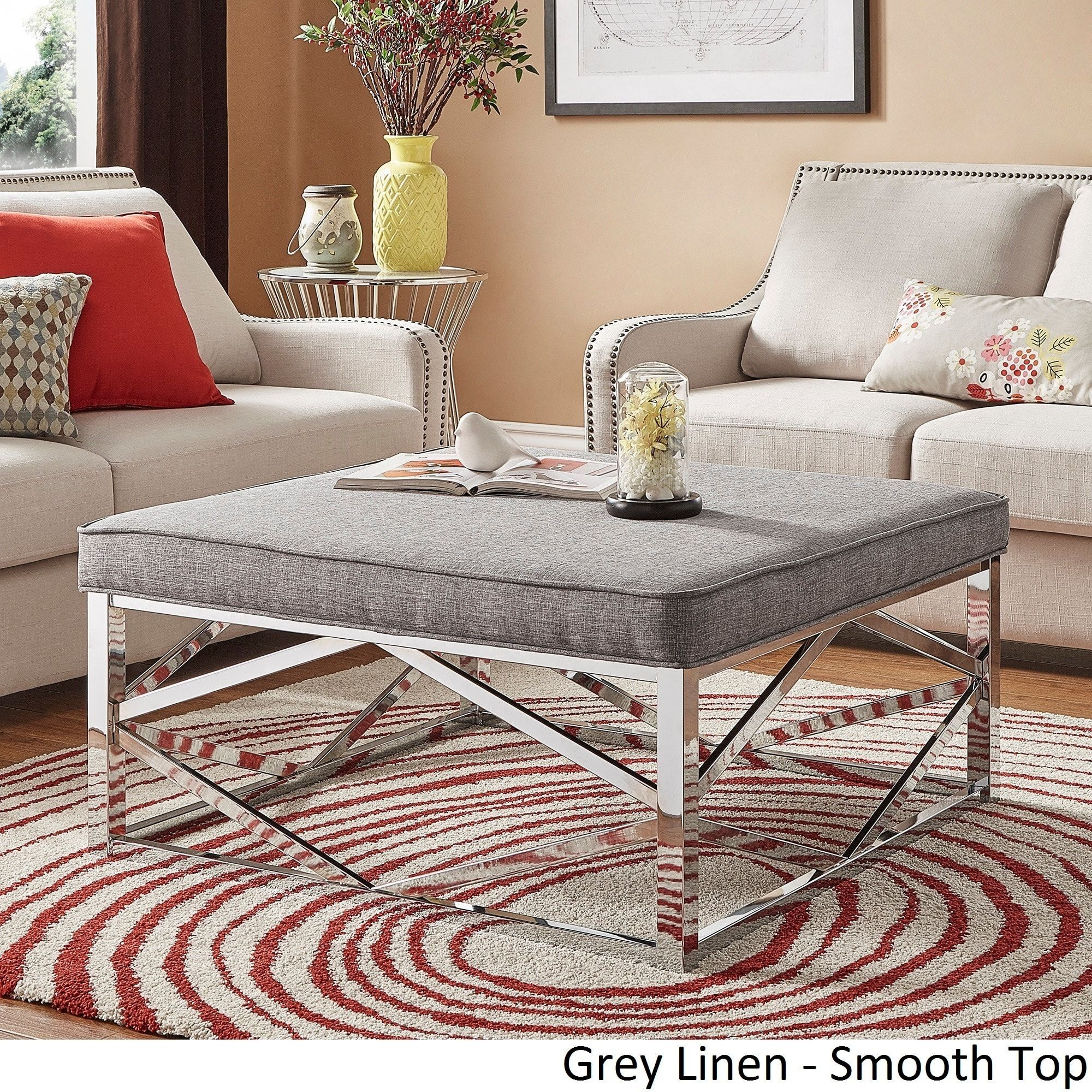 Solene Geometric Base Square Ottoman Coffee Table - Chrome by iNSPIRE Q  Bold ([Beige Linen]- Smooth Top), Brown, Size Medium (Fabric)