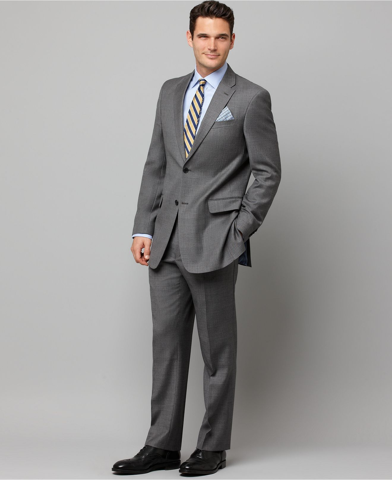 Tommy Hilfiger Suit Gray Sharkskin Slim Fit Mens Suits