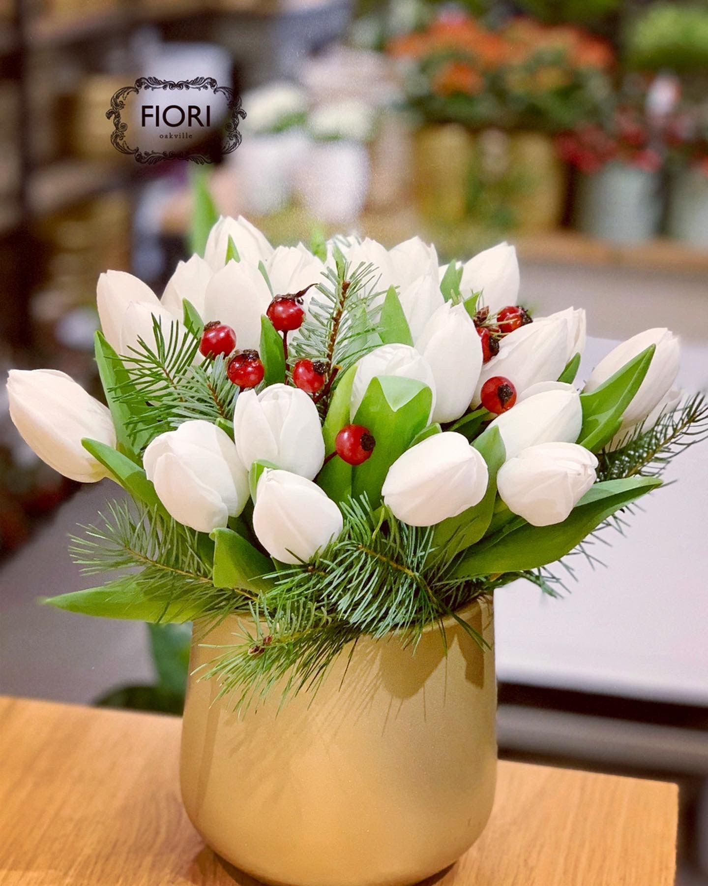 Contemporary and elegant this flower arrangement offers an