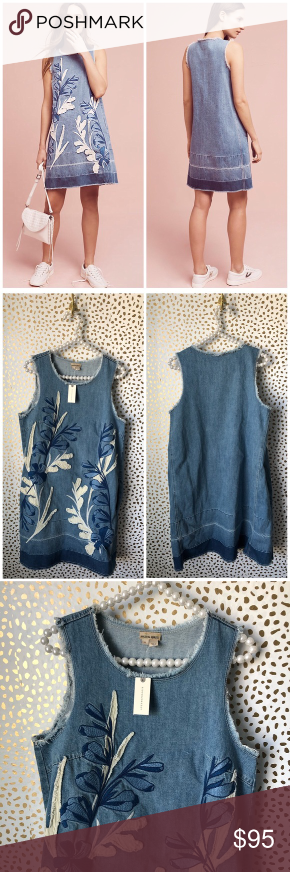 a34cf9c00b4 Anthropologie Holding Horses Denim Leaves Dress Brand new with tags! Size  medium. Embroidered leaf shift dress with fringe. Denim chambray.  Sleeveless.