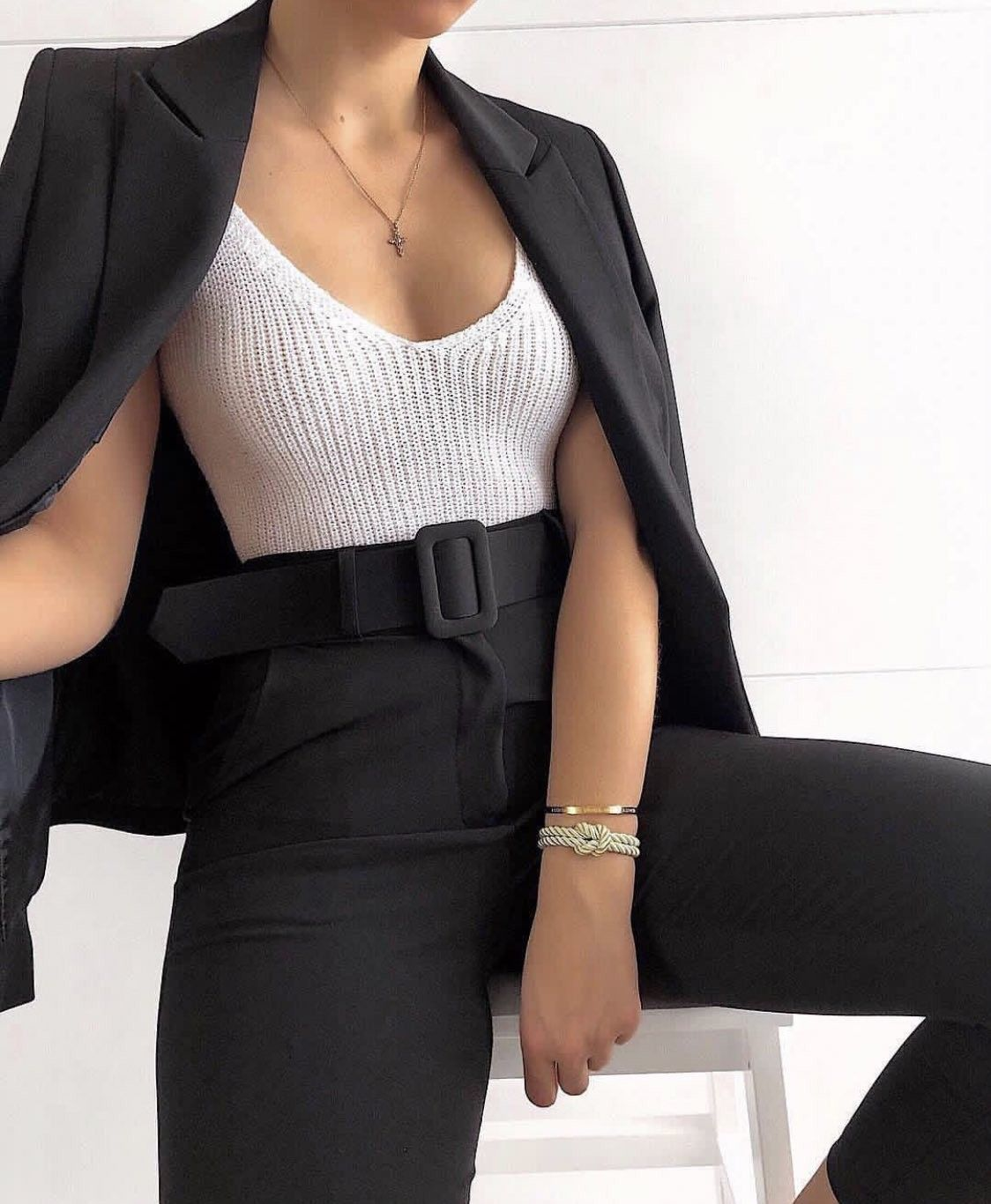 f84bc15c5 ROMWE: (top) ribbed knit solid cami bodysuit (coat) shawl collar solid