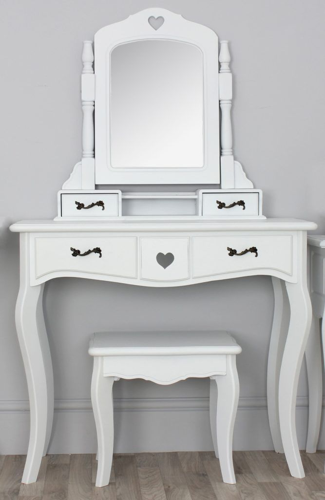 White Dressing Table With Drawers And Mirror And Stool Bedroom