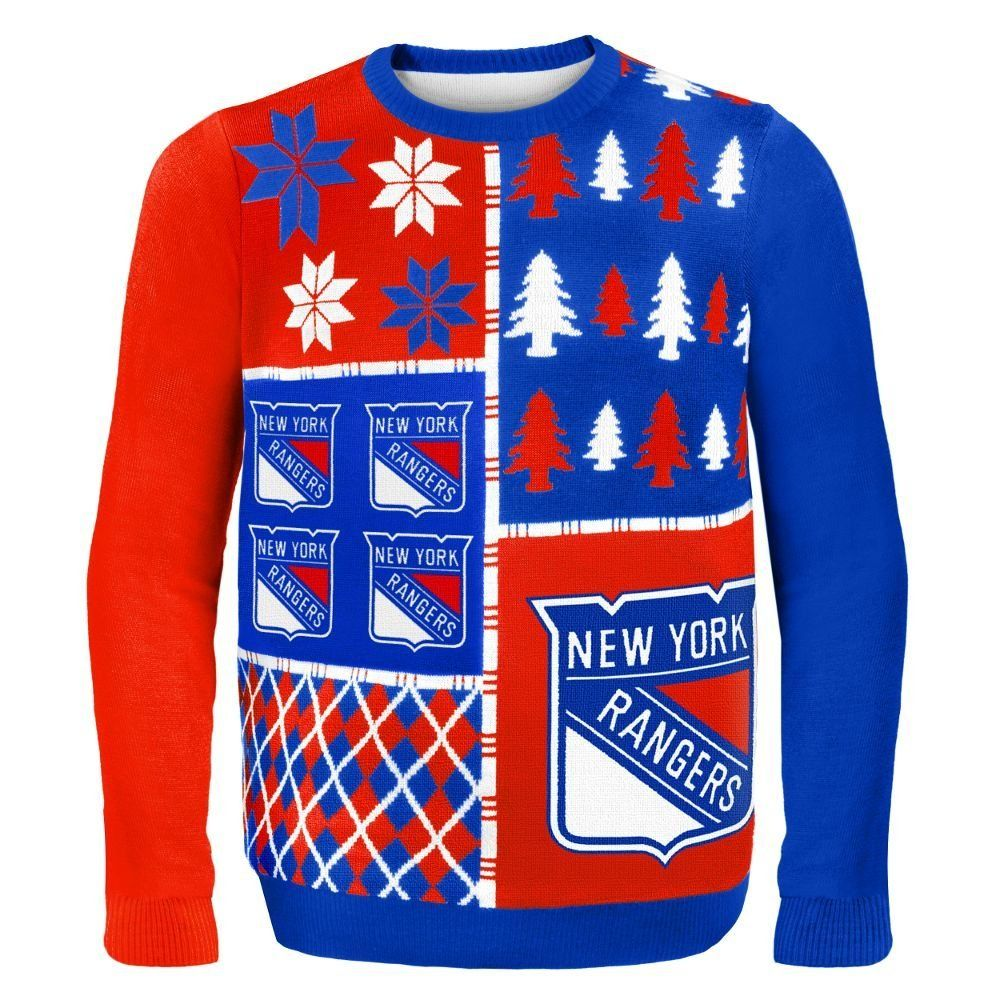 NEW YORK RANGERS BUSY BLOCK UGLY SWEATER | Ugly Christmas Sweaters ...