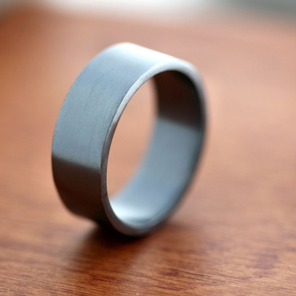 Mens Silver Wedding Band 8mm Wide Simple Flat Recycled Argentium Oxidized Sterling