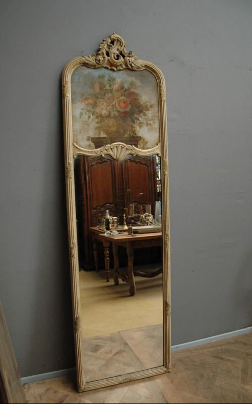 Vintage French Tall Narrow Louis Xv Style Trumeau Mirror With Wood