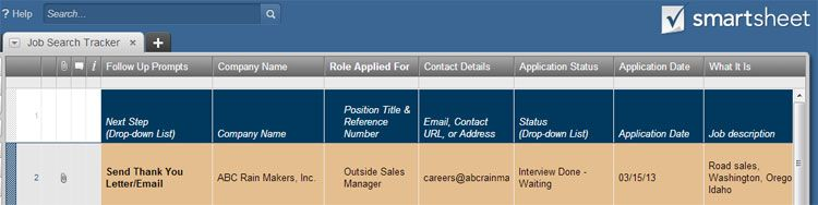 Project Manage Your Job Search Job Search Job Smartsheet