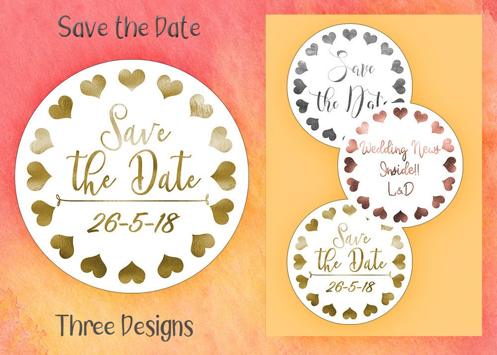 Real foil save the date sticker silver foil sticker own design sticker wedding favour sticker personalised sticker envelope seal