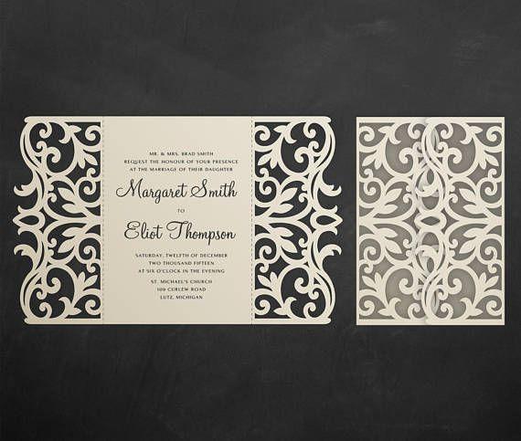 Software Wedding Invitations: Gate-fold Wedding Invitation Card Template, 5x7
