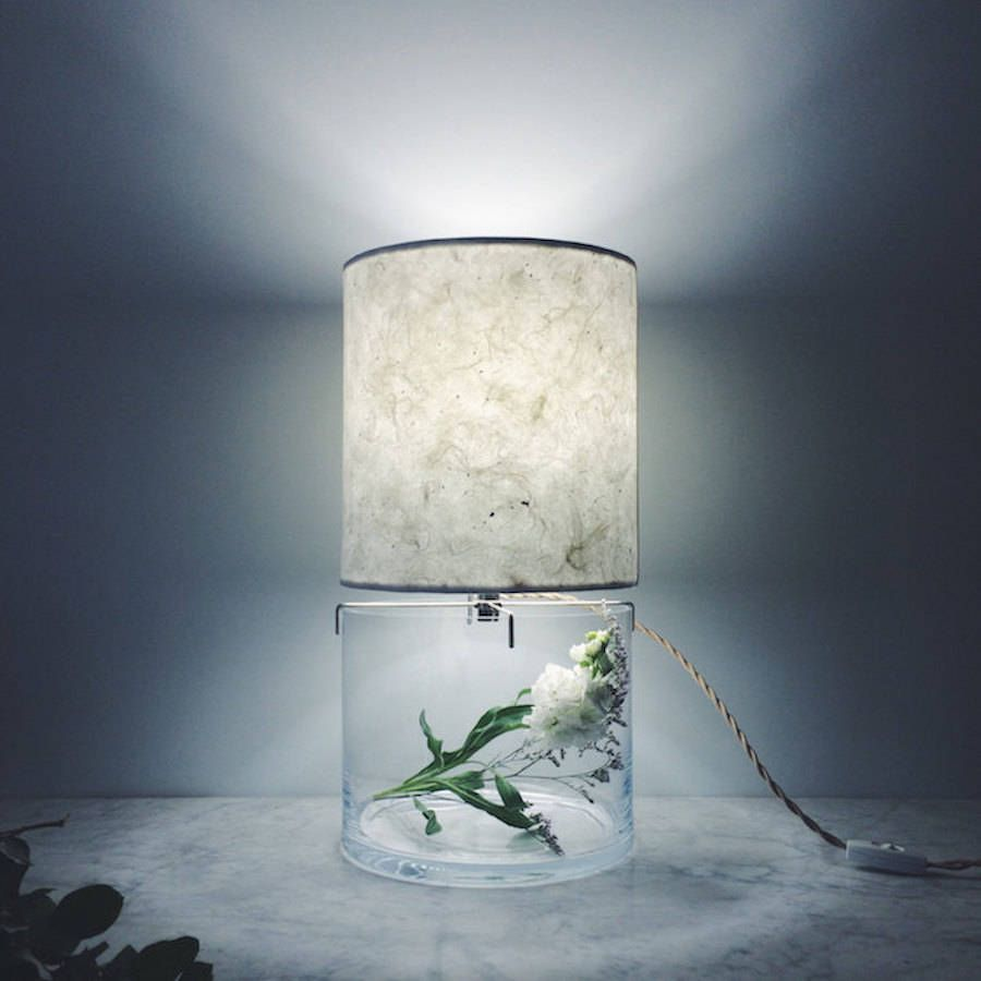 Inventive terrariums inserted under paper lamps paper lamps