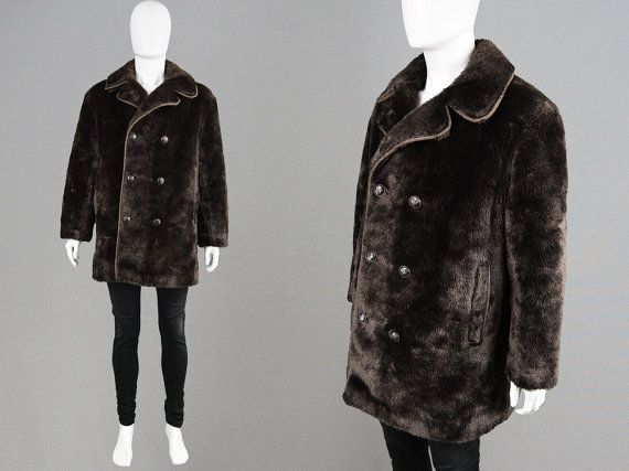 0ef5f7b845db9 Vintage 60s 70s Mod Mens Faux Fur Coat Brown Fake by ZeusVintage ...