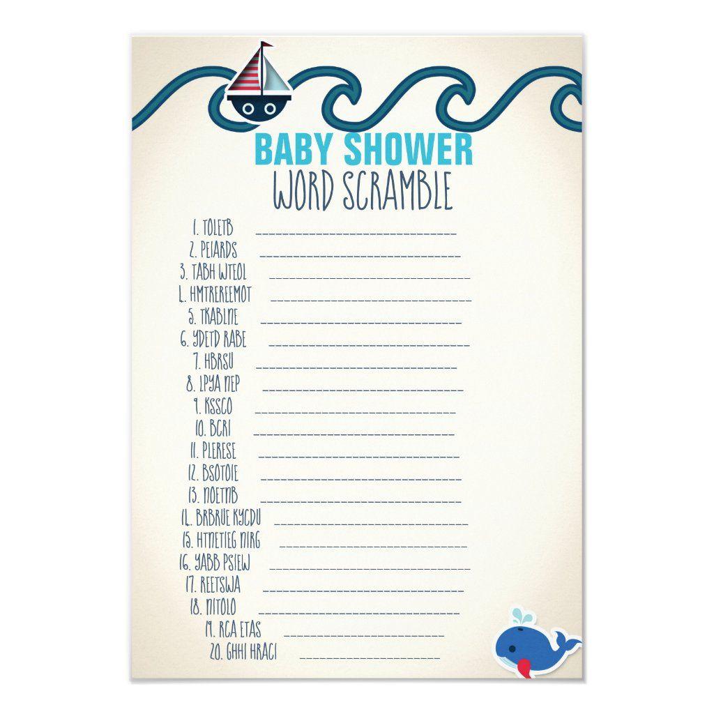 Nautical Baby Shower Word Scramble Game Invitation   Zazzle.com