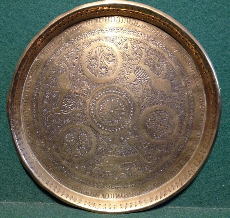 Vintage Brass Indian Persian Decorative Hand Engraved Tray