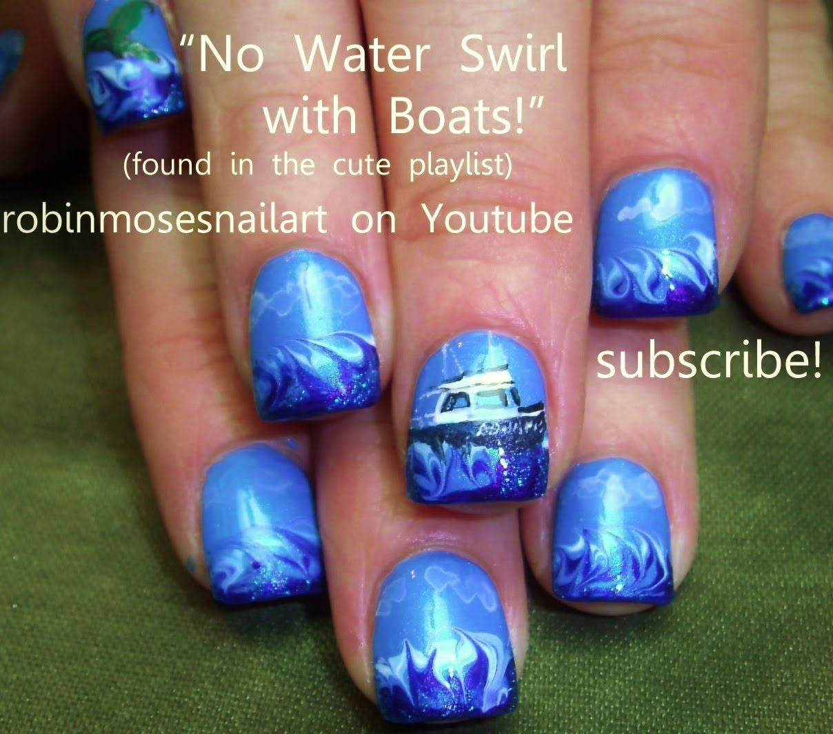 Love the waves...No Water Marble Wave w/ Boat Nail Art | Summer ...