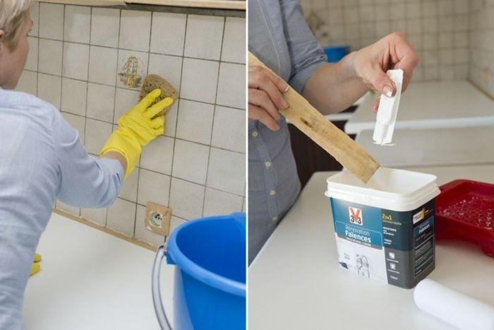 K chenrenovierung alter fliesenspiegel neu streichen for Fliesenspiegel lackieren