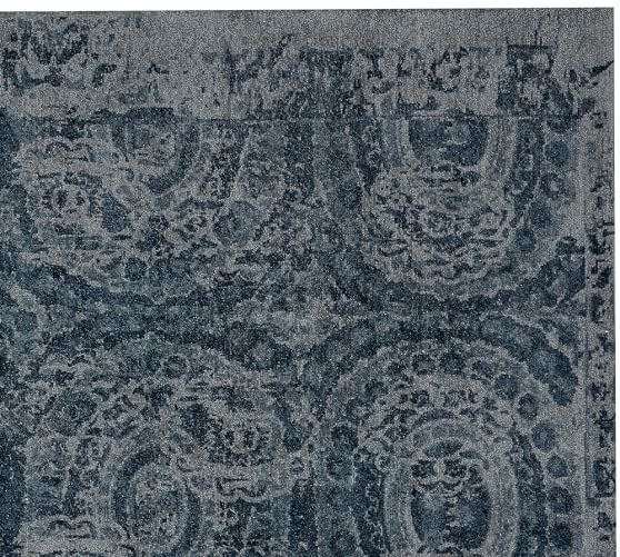 Bosworth Printed Wool Rug Blue With Images Wool Rug Pottery Barn Rug Sale