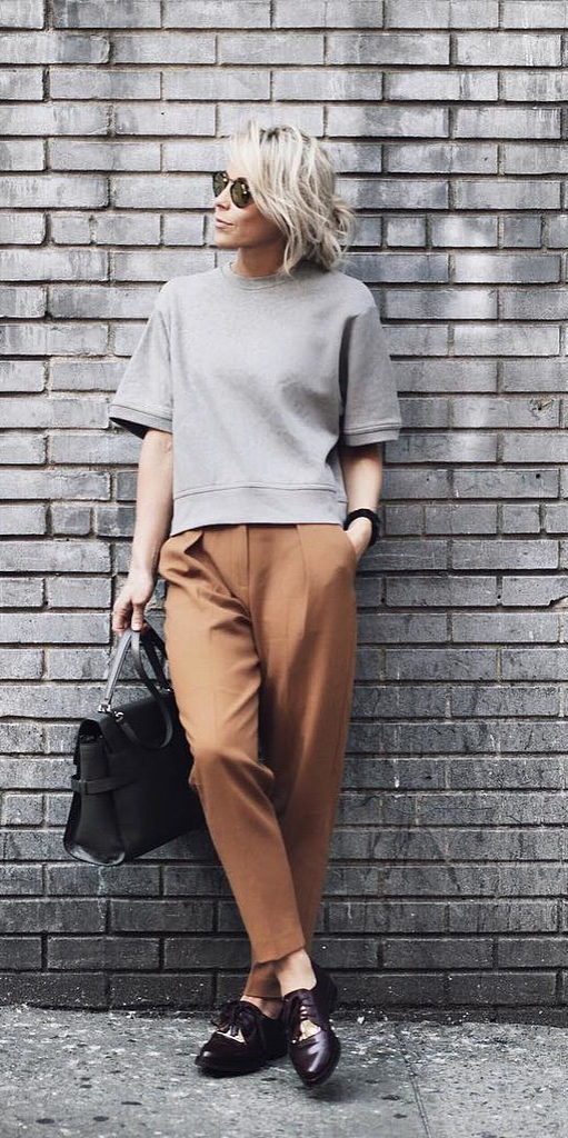 An Oversize Short-Sleeved Shirt and Tailored Pants
