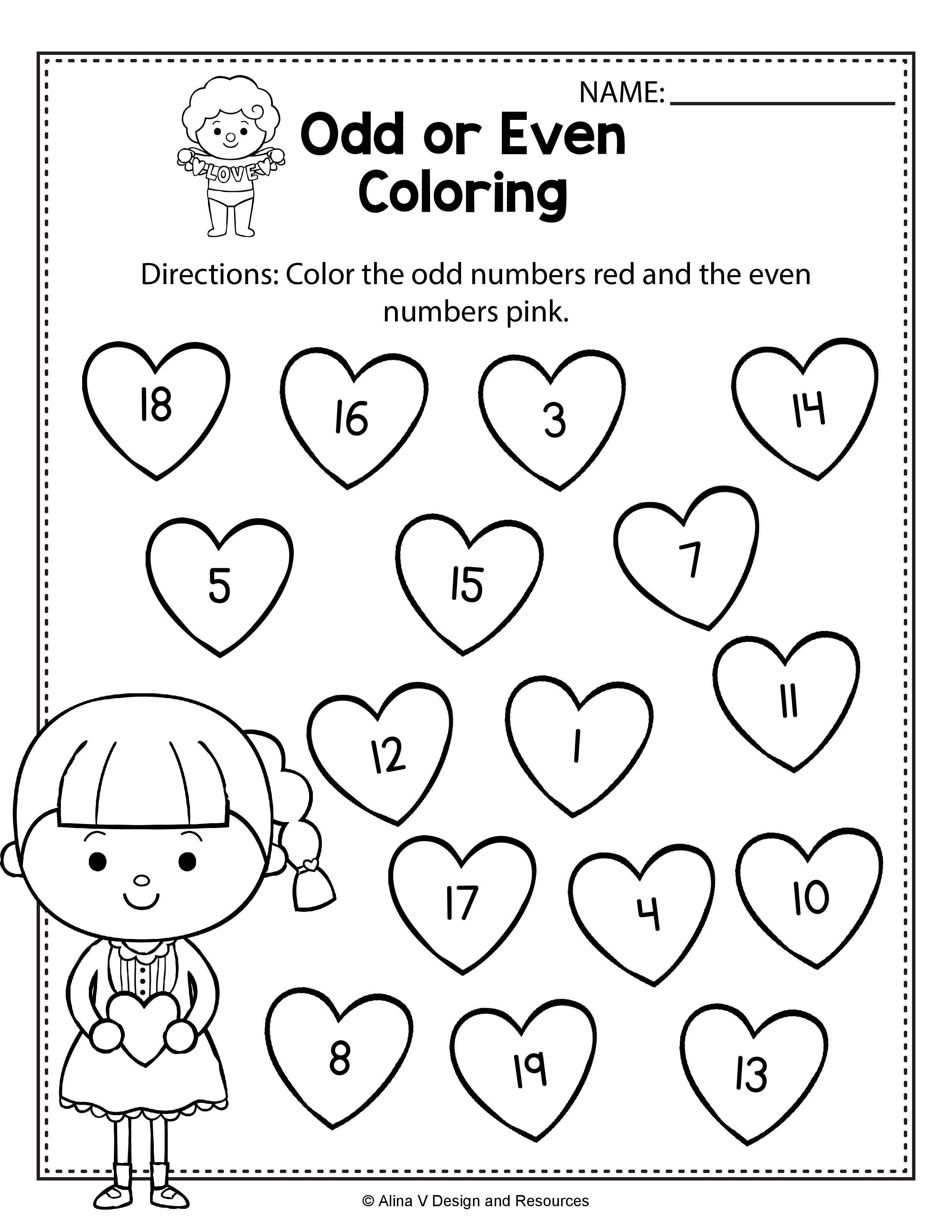 Valentine's Day Odd or Even Coloring Math Worksheets and activities for  preschoo…   Kindergarten math worksheets free [ 3300 x 2550 Pixel ]