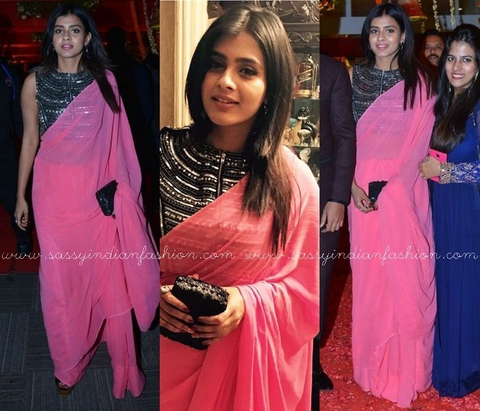 fe5dc3d2067a47 Plain Pink Saree and Contrasting Black Blouse | Celebrity Sarees ...