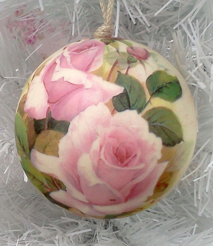 Rose christmas ornament - Image Detail For Shabby Chic Pink White Christmas Ornament Rose Marie Antoinette Sct