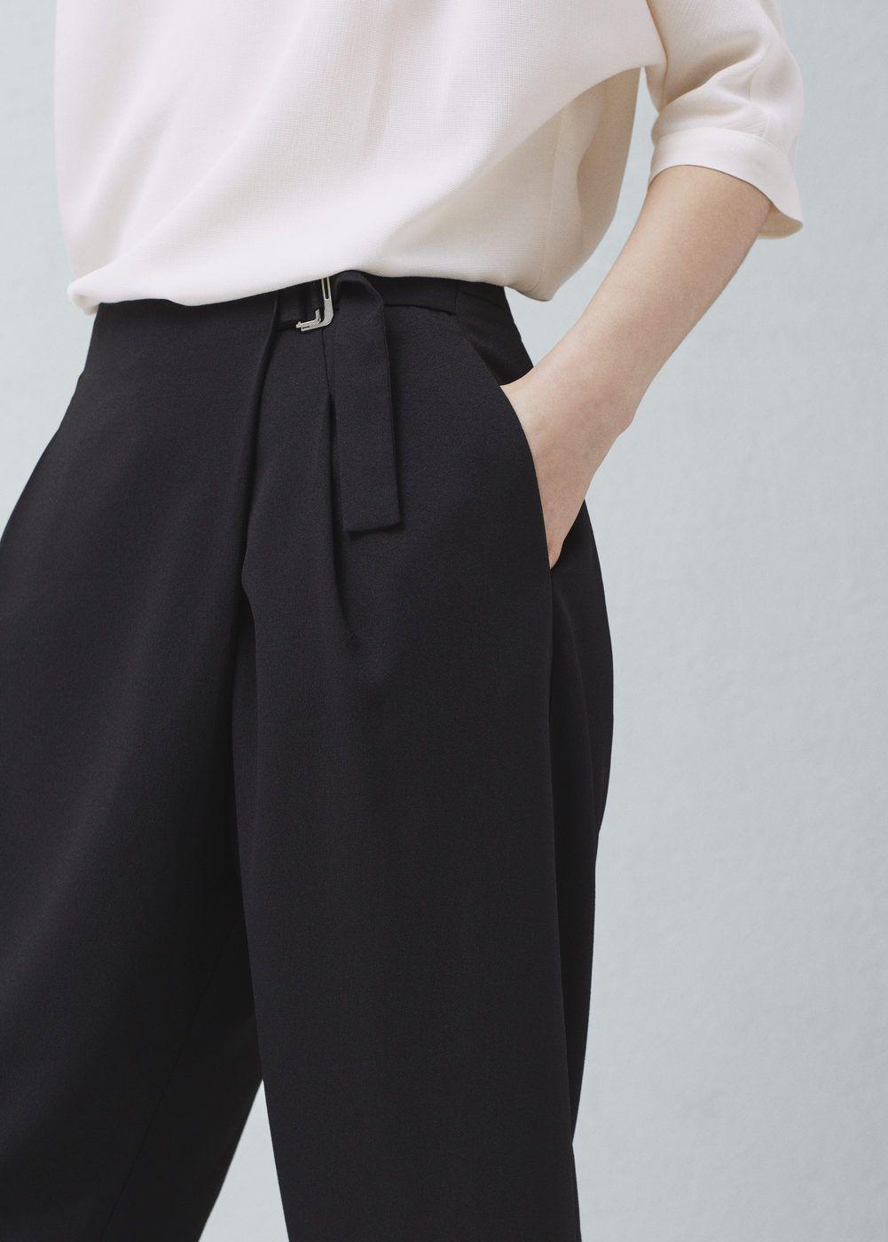 Pantalon Traje Hebilla Mujer Mango Islas Canarias Pantalon De Vestir Dama Pantalones De Vestir Trajes De Pantalon