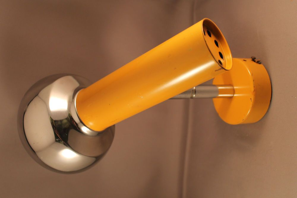70er Jahre Wandlampe Lampe Chrome YELLOW gelb Tube 70s Wall Lamp Spot