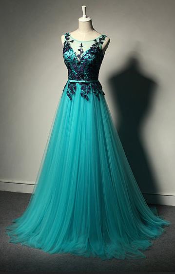Teal Sleeveless Prom Dresses