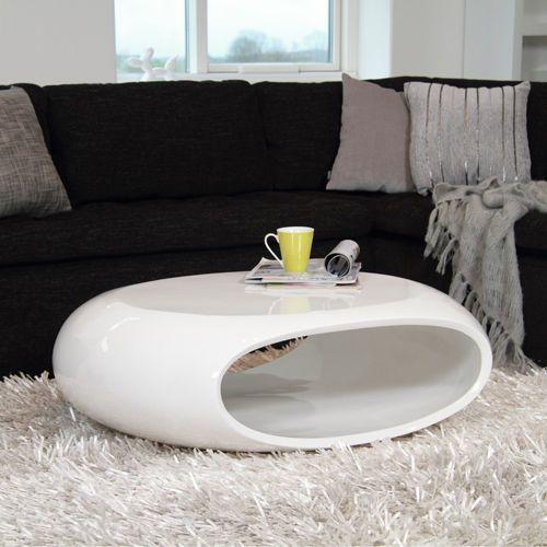 Design Couchtisch SPACE Fiberglas Tisch oval weiß Hochglanz - wohnzimmertisch hochglanz weiß