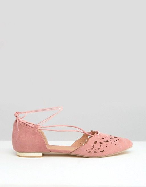 138bfe6b2131 Glamorous Cut Out Tie Up Dusty Pink Point Flat Shoes