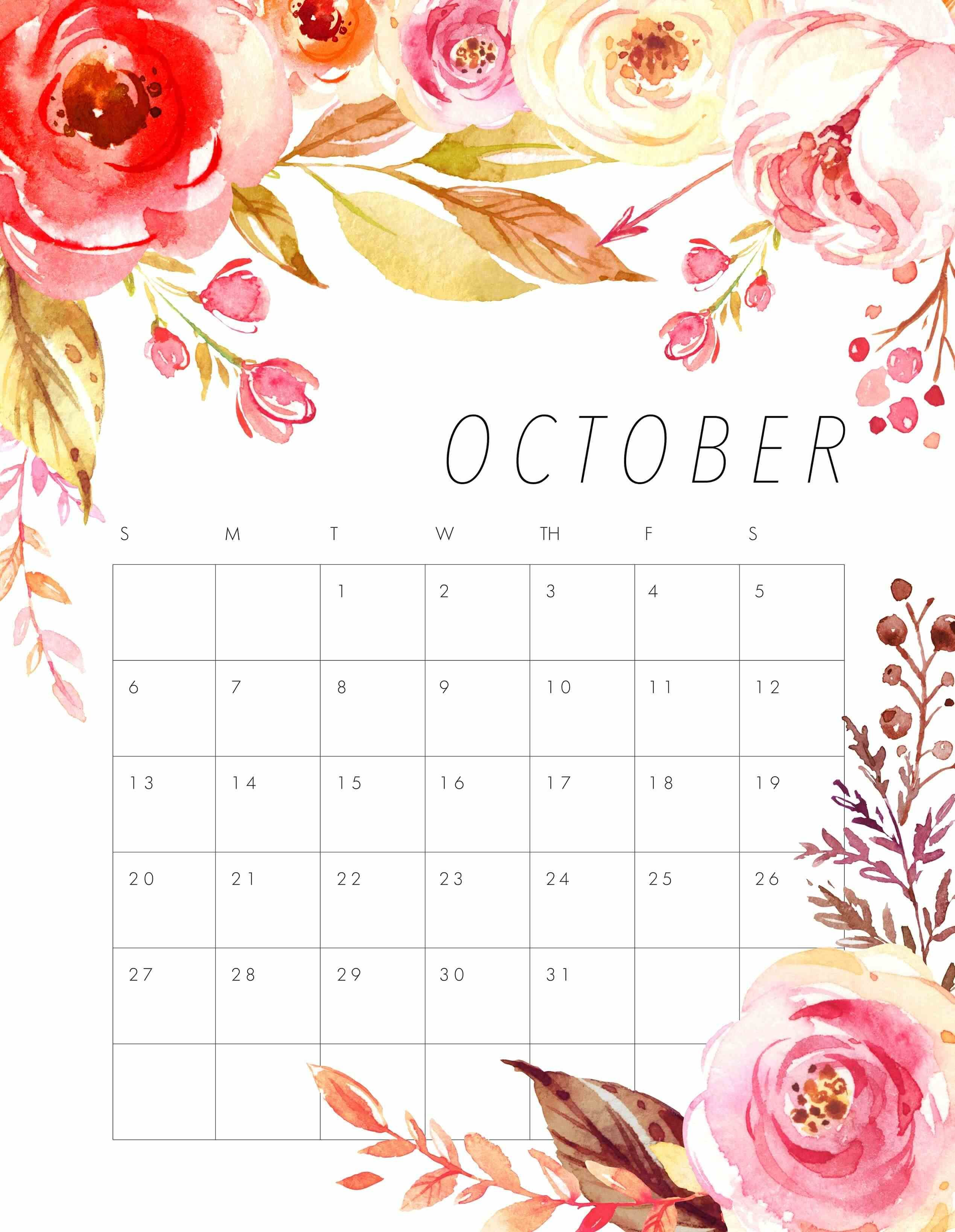 Cute October 2019 Calendar Printable Wallpapers Hd 2017 Floral