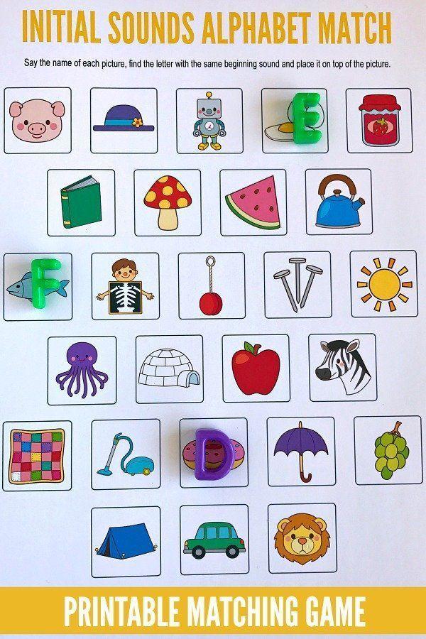 Beginning Sounds Alphabet Matching Game Preschool