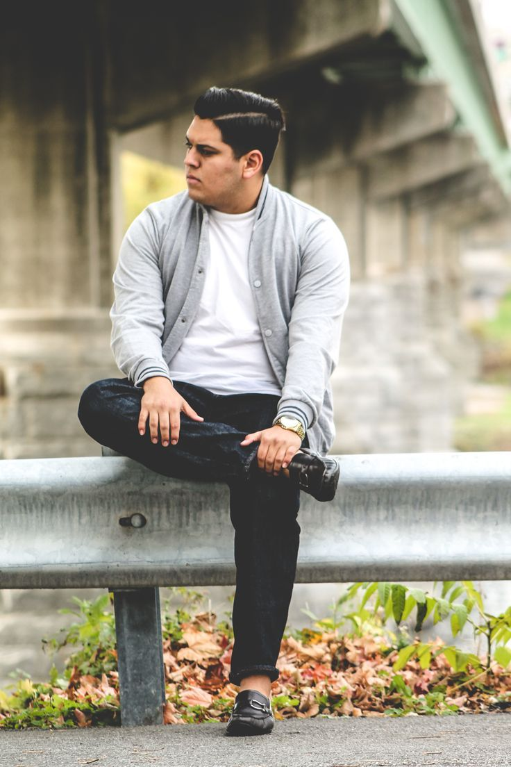 Men's Grey Cardigan, White Crew-neck T-shirt, Black Jeans, Black ...