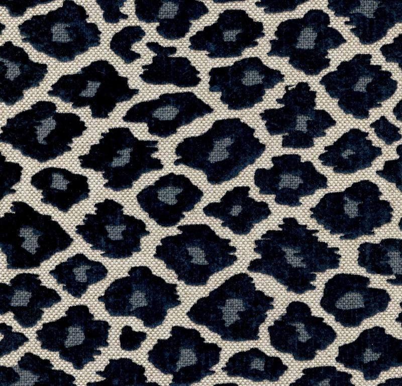 Navy Blue Chenille Animal Print Fabric Cheetah Upholstery Simba