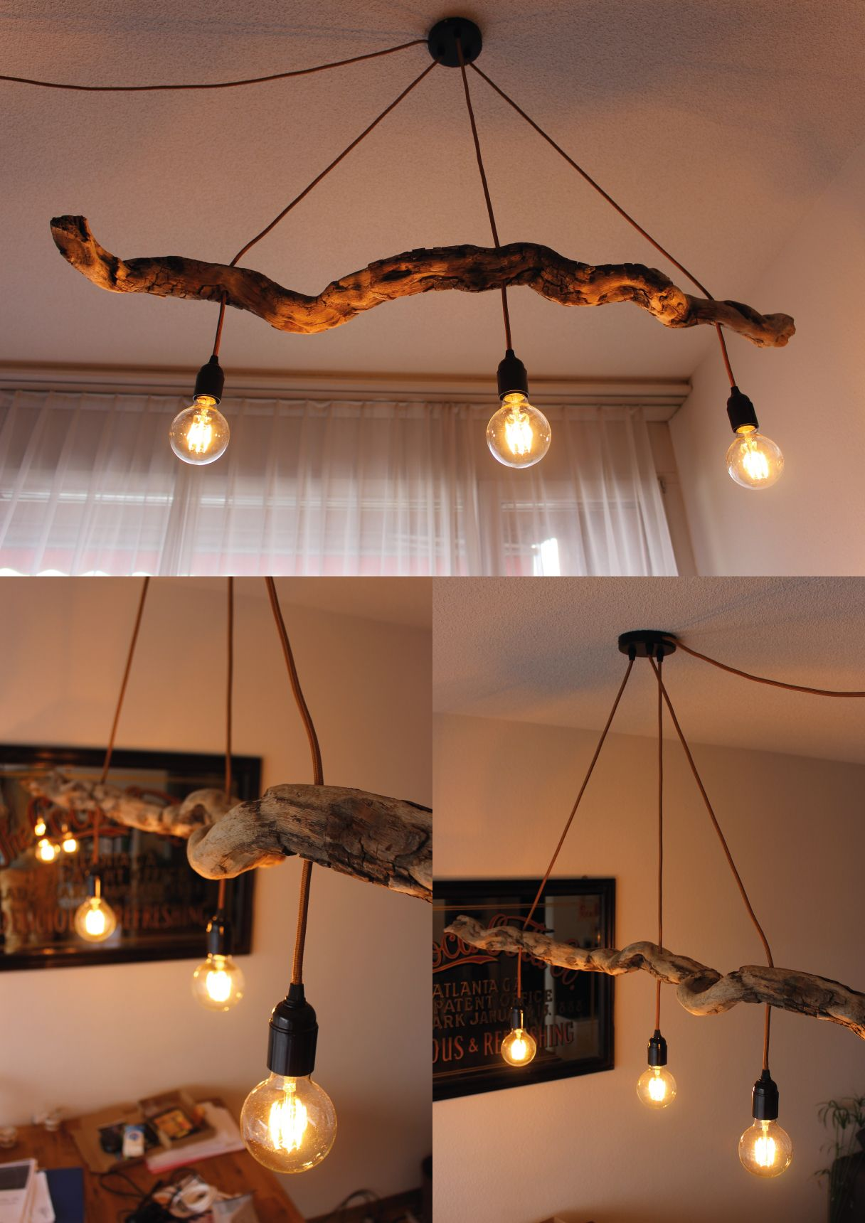 Self Made Driftwood Lamp With Leds Driftwood Lamp Driftwood Chandelier Diy Chandelier