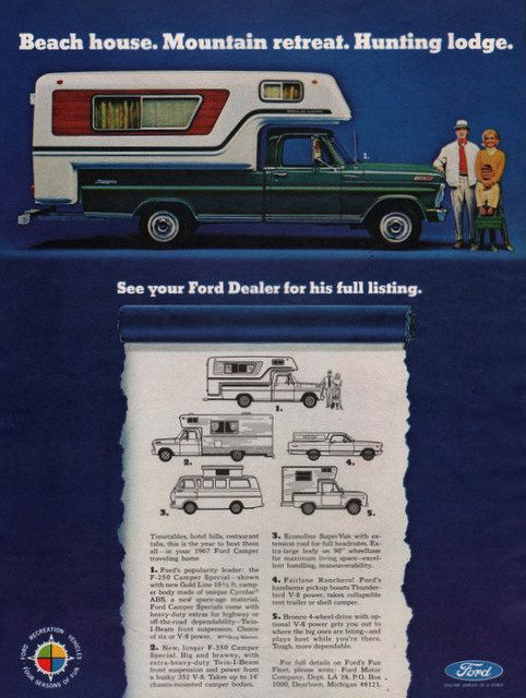 Maik Haik Dodge >> 1967 Ford F250 Camper Special pickup truck print ad by ...
