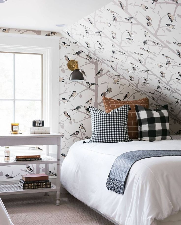 Best Sloped Ceiling Bird Wallpaper White Bedding With Checked 400 x 300