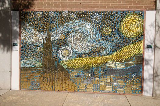 Vincent van Gogh's Starry Night mural made from door knobs and thousands of hardware pieces.