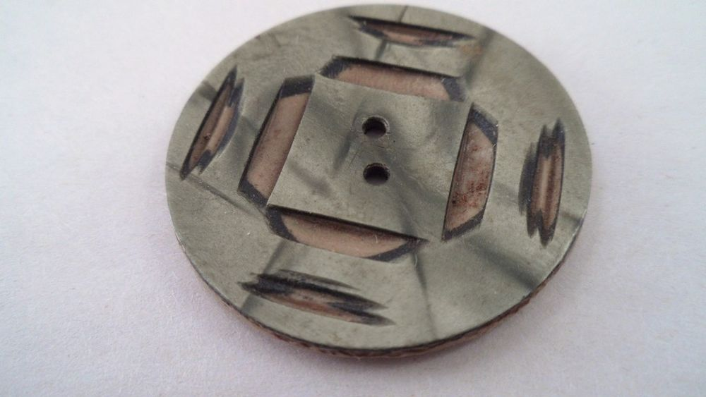 Vintage Art Deco Carved Celluloid Wafer Button - Olive Green Pearl Cut to Brown