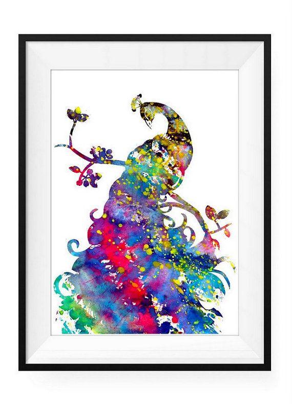 Peacock, Watercolor Print, watercolor painting, watercolor art, Illustration,home decor wall art, watercolor birds