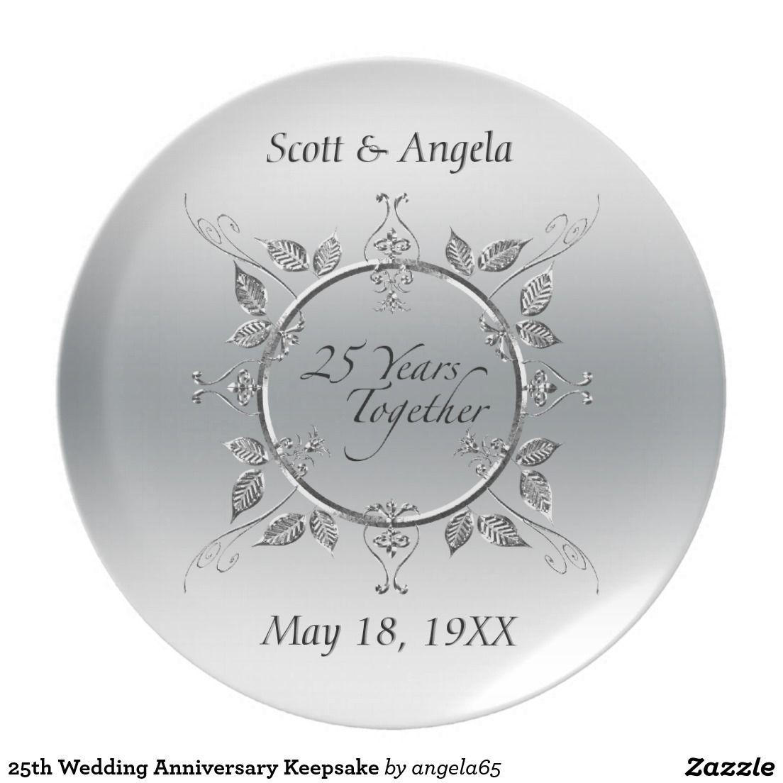 25th Wedding Anniversary Keepsake Melamine Plate 20% Off www.leatherwooddesign.com