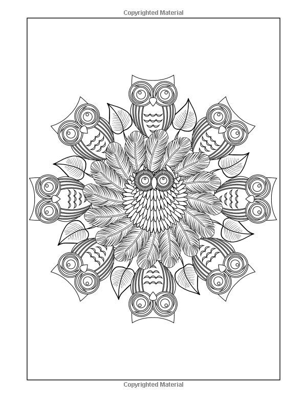 Amazon Mandalas To Color Owls Mandala Pattern Coloring Pages 50 Intricate Books For Grown Ups 9781514311981 Lunar Glow Readers