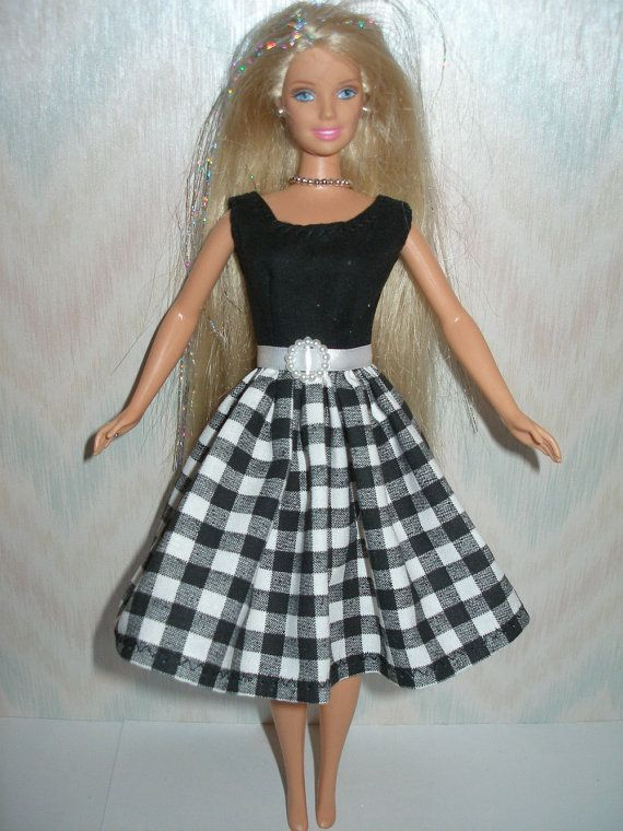 Handmade Barbie Clothes Black And White Dress By Thedesigningrose Barbie Clothes Sewing Barbie Clothes Vintage Barbie Clothes