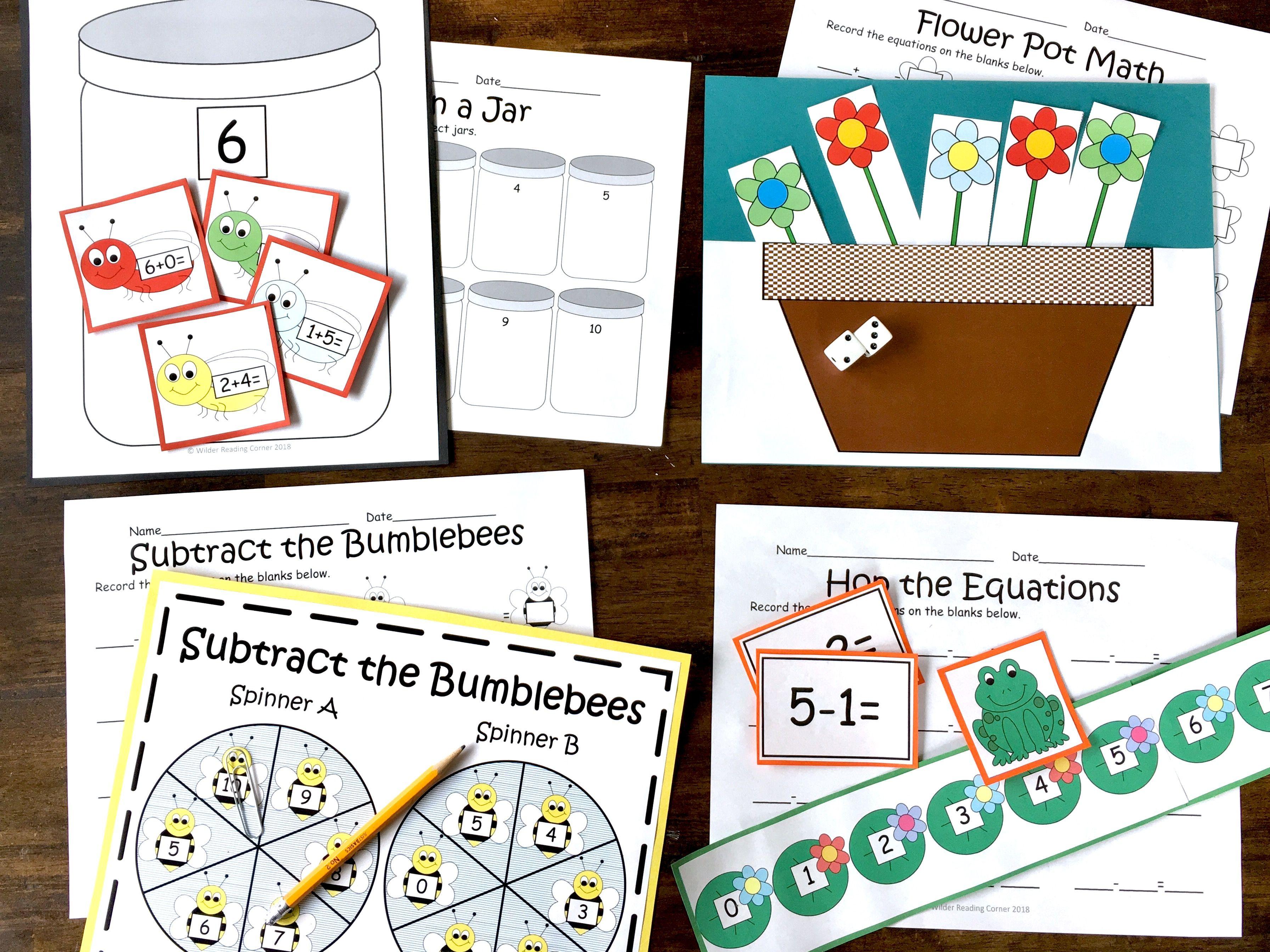 Addition Amp Subtraction Spring Math Centers Kindergarten
