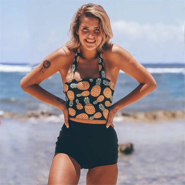 6748c5582e8ae High Waist Swimsuit 2017 Two Piece Swimwear Women High Neck Bikini Cropped  Biquini Plus Size Tankini