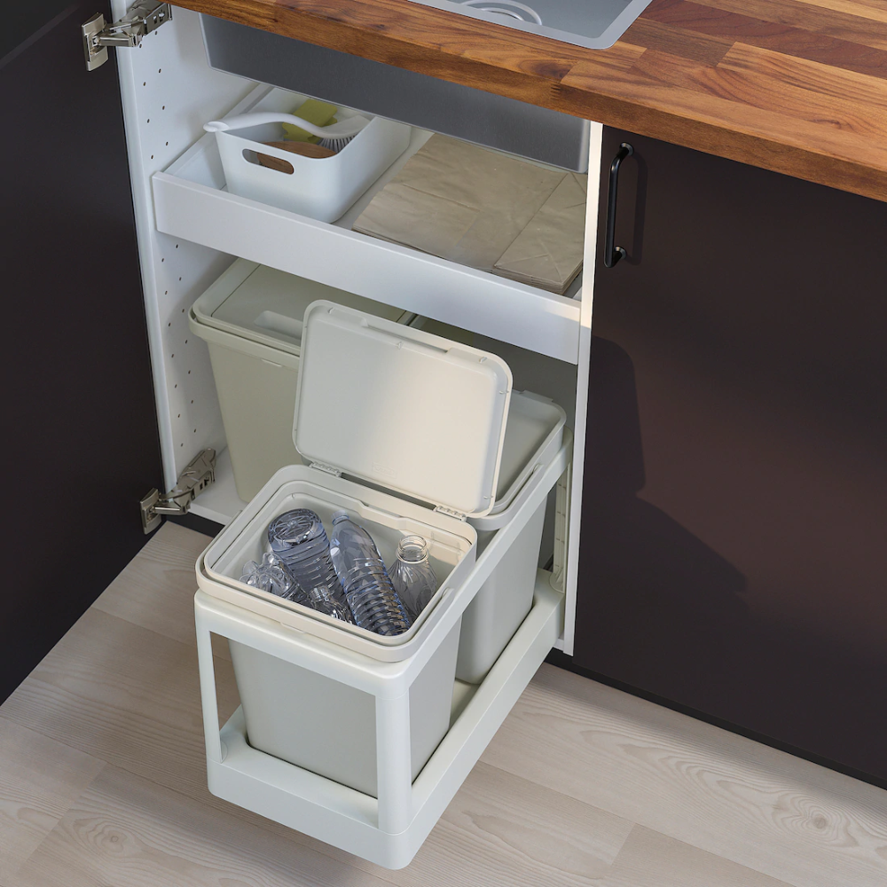 Hallbar Pull Out Frame For Recycling Light Gray Ikea In 2020 Ikea Recycling Station Recycling