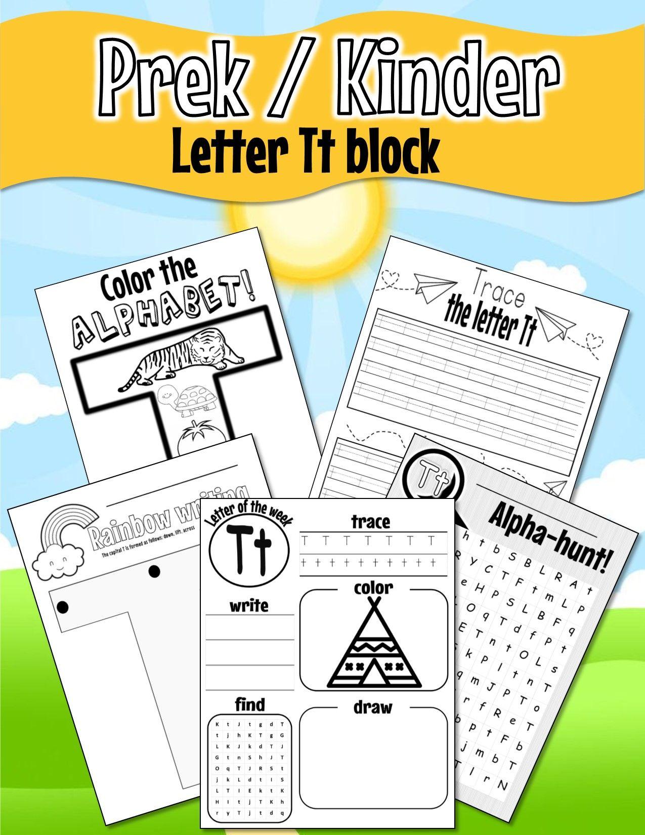 Pre K Kinder Letter Tt Worksheets