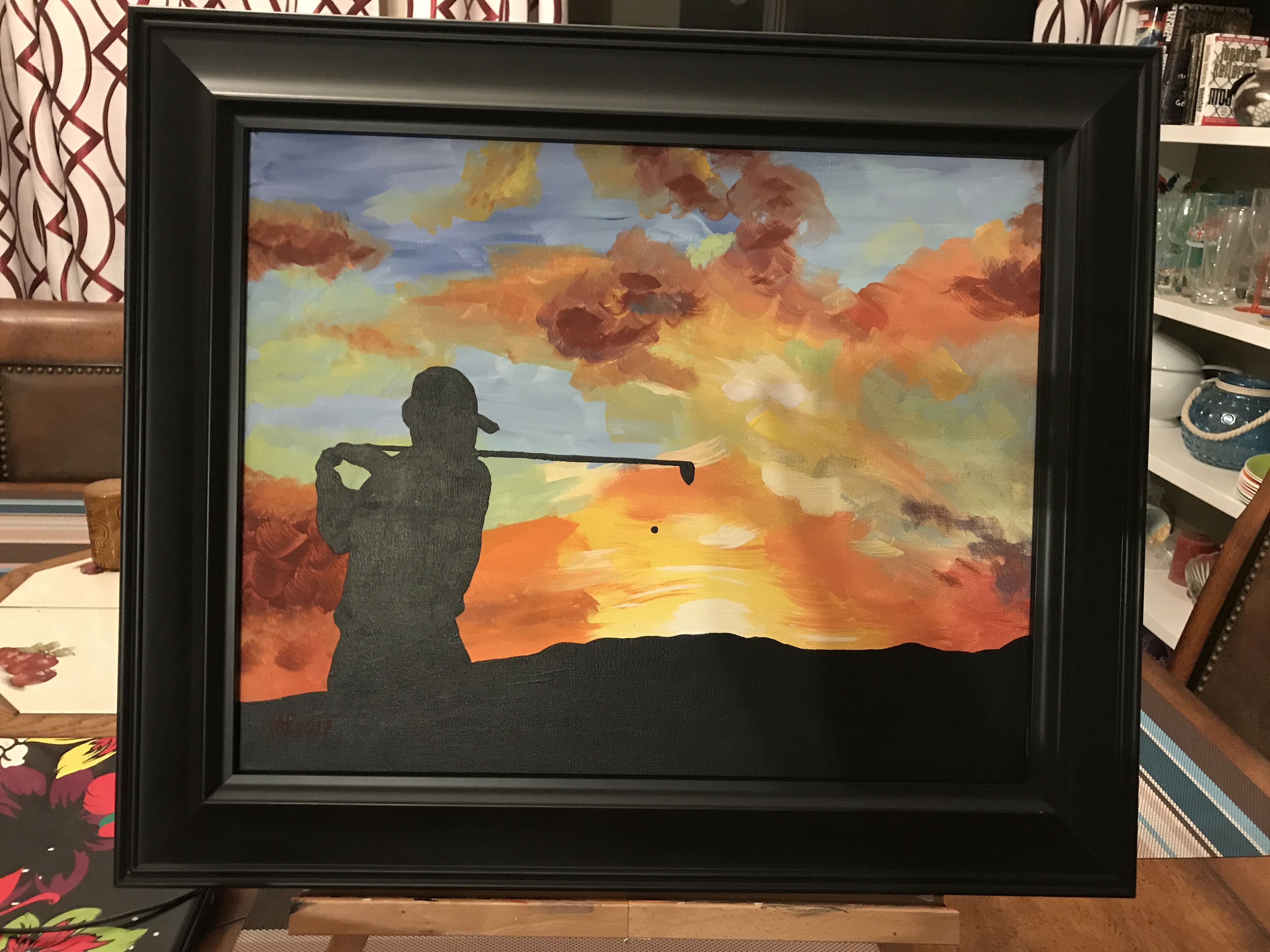 Acrylic Painting Golf Sunset Easy Paint Night Silhouette