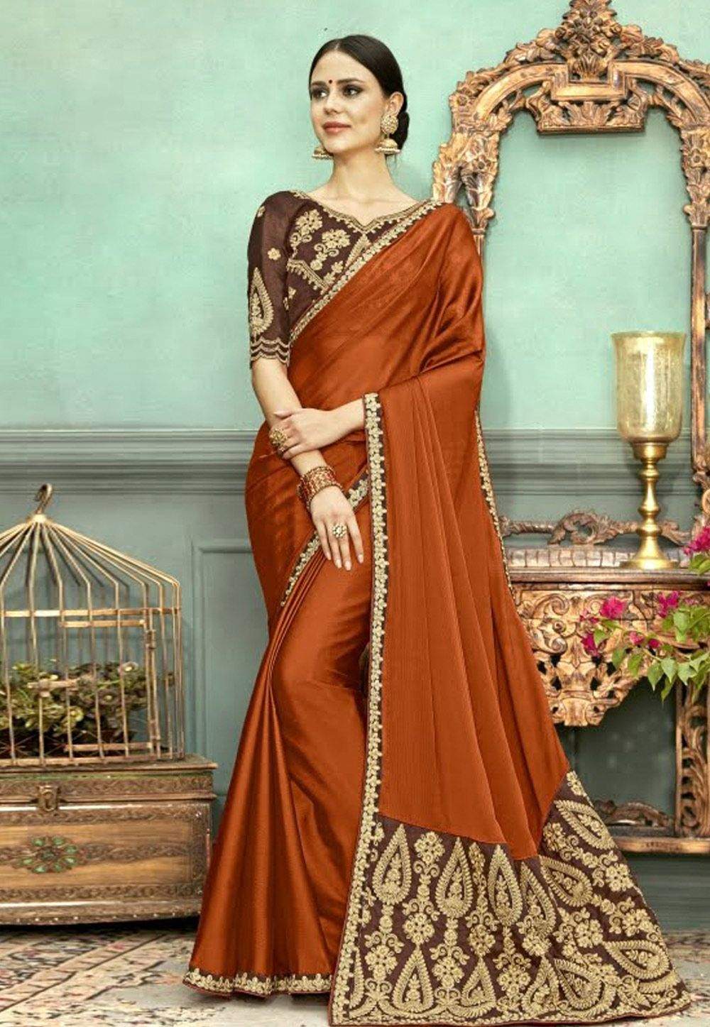 5aafc52d8270c7 Buy Rust Chanderi Silk Festival Wear Saree 153759 with blouse online at  lowest price from vast