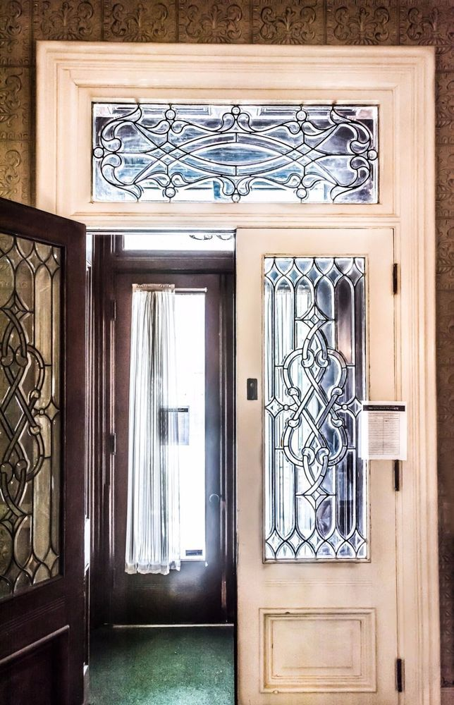 Antique Double Entry Foyer Doors Leaded Glass Transom Architectural Salvage - Antique Double Entry Foyer Doors Leaded Glass Transom Architectural