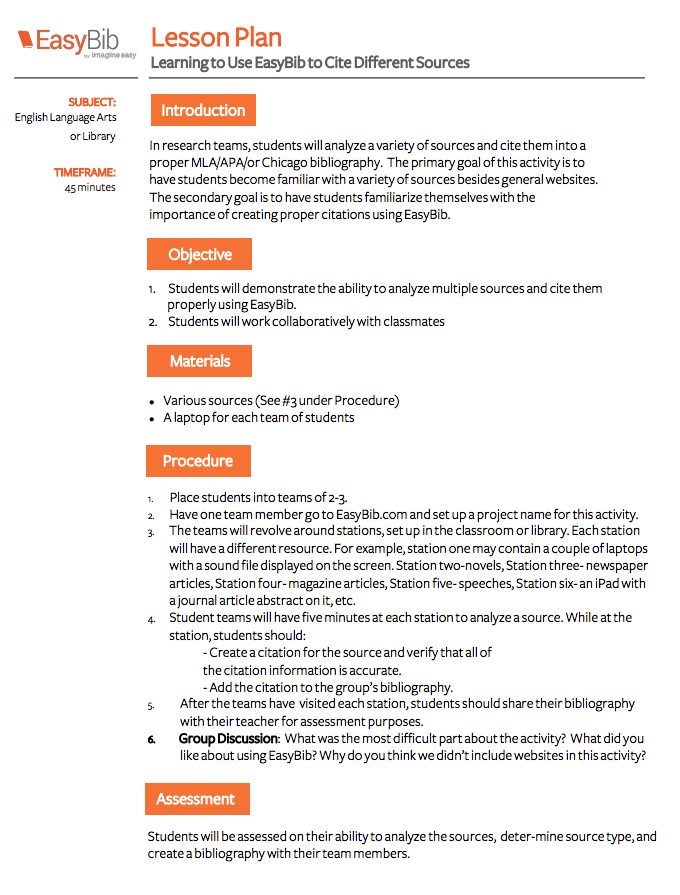 lesson plan learning to use easybib to cite sources library