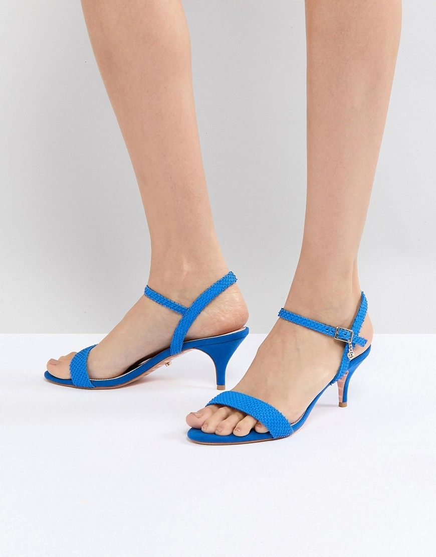 Dune Bright Blue Kitten Heel Two Part Sandal Blue Modesens Blue Sandals Kitten Heels Womens Fashion Shoes